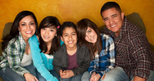 Latino family, parents and kids